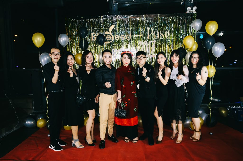 Pose.com.vn editiroial team celebrate at the Blueseed Group 2018 Lunar New Year in Ho Chi Minh City.